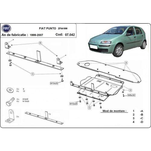 Fiat Punto , 1999-2009 - Acél Motorvédő lemez