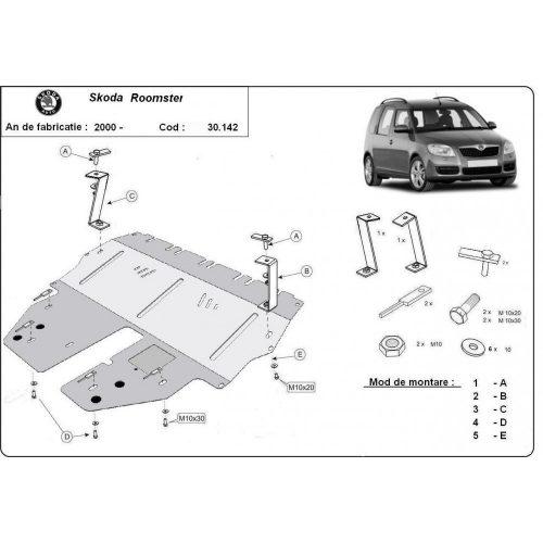 Skoda Roomster, 2004-2020 - Acél Motorvédő lemez