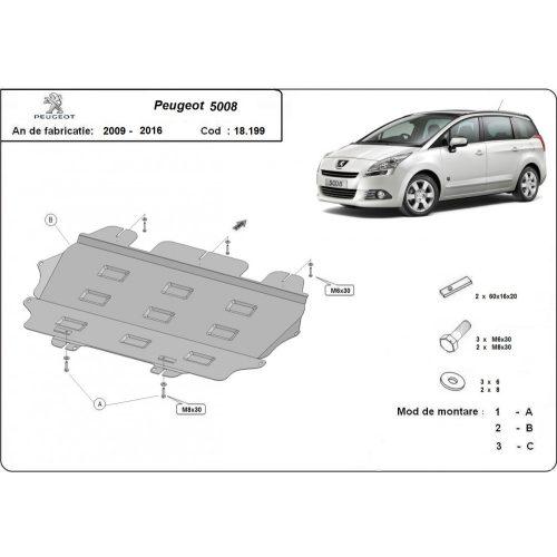 Peugeot 5008, 2009-2020 - Acél Motorvédő lemez