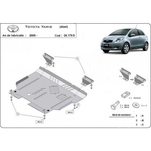 Toyota Yaris, 2005-2011 - Acél Motorvédő lemez