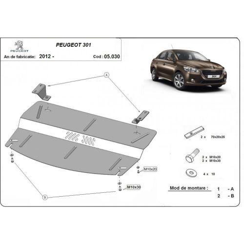 Peugeot 301 2012-2020 - Acél Motorvédő lemez