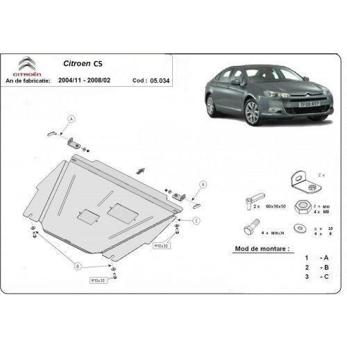 Citroen C5, 2004-2008 - Acél Motorvédő lemez