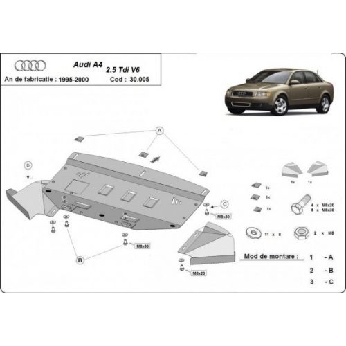 Audi A4, 1997-2000 - Acél Motorvédő lemez