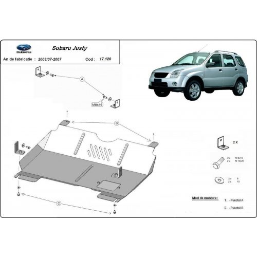 Subaru Justy, 2003-2007 - Acél Motorvédő lemez