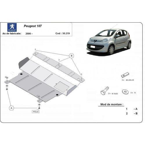 Peugeot 107, 2006-2020 - Acél Motorvédő lemez