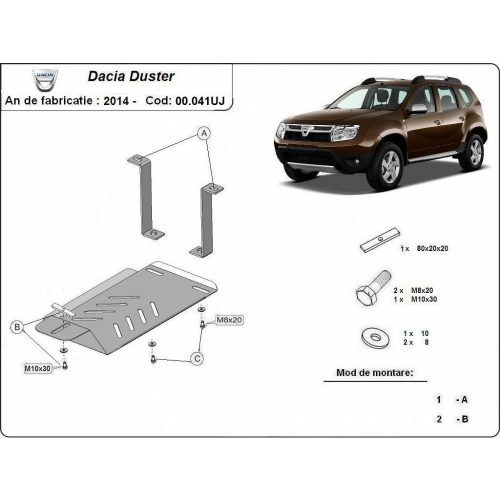 Dacia Duster 4x4, 2014-2017 - Acél Differenciálmű védő lemez