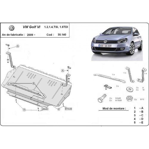 VW Golf 6, 2010-2012 - Motorvédő lemez