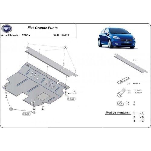 Fiat Grande Punto, 2006-2020 - Acél Motorvédő lemez