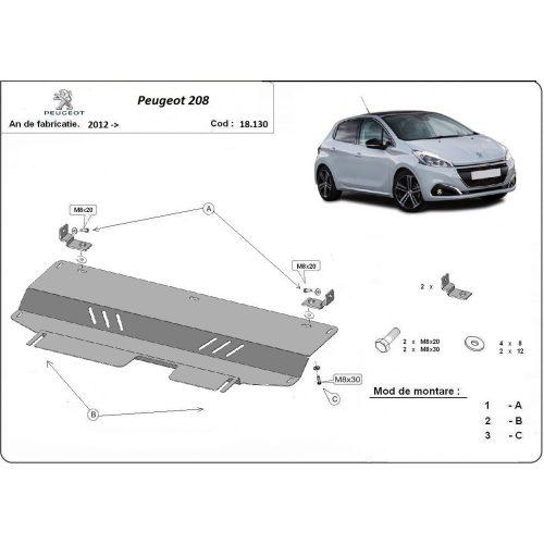 Peugeot 208, 2012-2018 - Motorvédő lemez