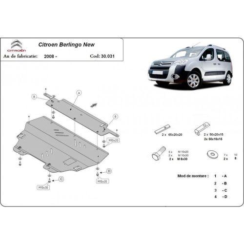 Citroen Berlingo 2008-2020 - Acél Motorvédő lemez