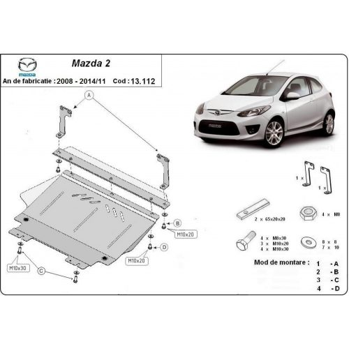 Mazda 2, 2008-2014 - Motorvédő lemez