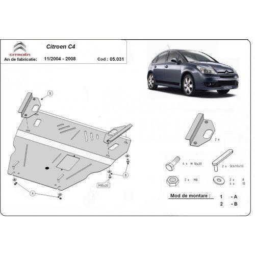 Citroen C4, 2004 -2010 - Acél Motorvédő lemez
