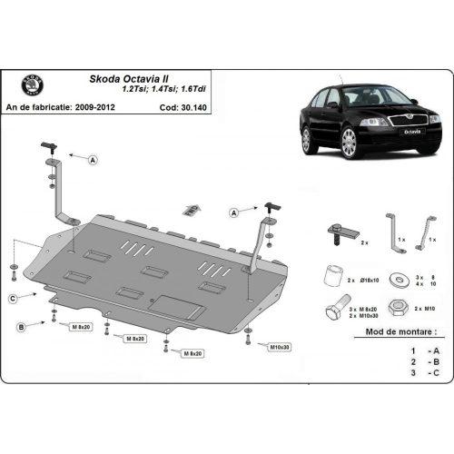 Skoda Octavia II, 2010-2013 - Acél Motorvédő lemez