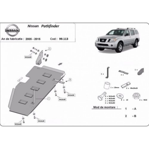 Nissan Pathfinder D40, 2005-2015 - Acél Üzemanyagtank védő