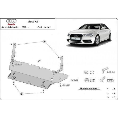Audi A4, 2015-2018 - Acél Motorvédő lemez