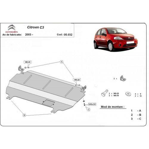 Citroen C3, 2003-2020 - Acél Motorvédő lemez