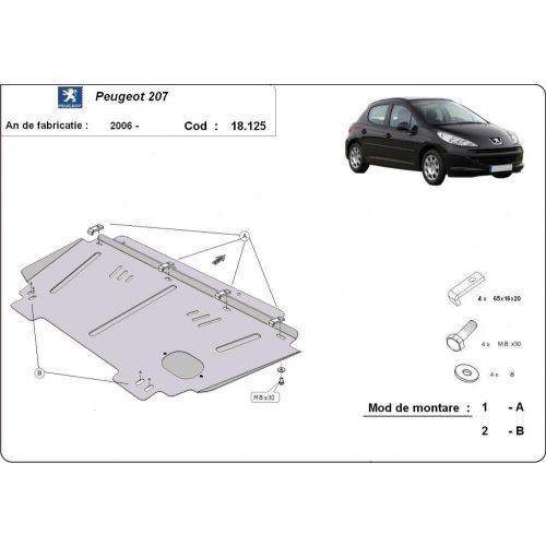 Peugeot 207, 2006-2020 - Acél Motorvédő lemez