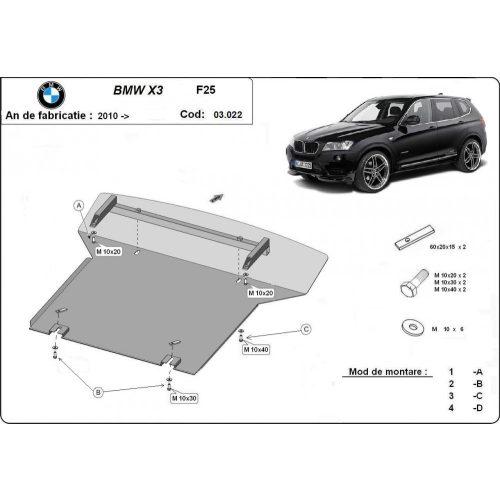 BMW X3, F25, 2010-2020 - Acél Motorvédő lemez