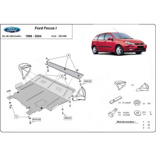 Ford Focus I, 1998-2004 - Acél Motorvédő lemez