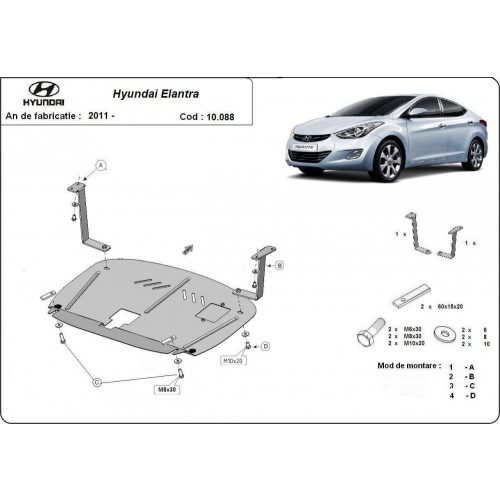 Hyundai Elantra, 2011-2016 - Acél Motorvédő lemez
