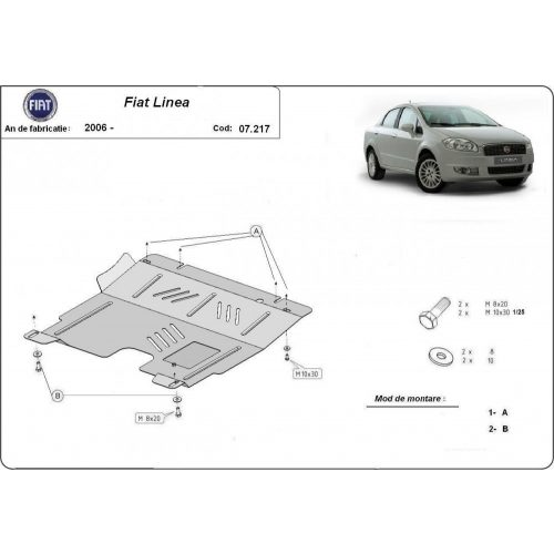 Fiat Linea, 2006-2020 - Motorvédő lemez