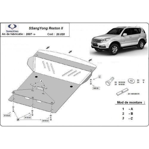 Ssangyong Rexton II 2007-2020 - Motorvédő lemez