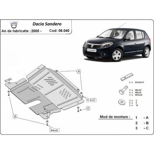 Dacia Sandero, 2005-2012 - Acél Motorvédő lemez