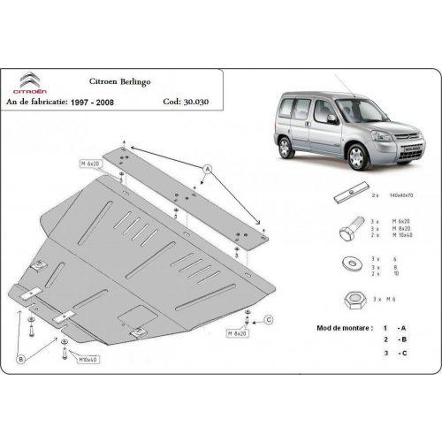 Citroen Berlingo, 1997-2008 - Acél Motorvédő lemez