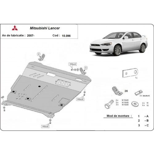 Mitsubishi Lancer 2007-2020 - Acél Motorvédő lemez