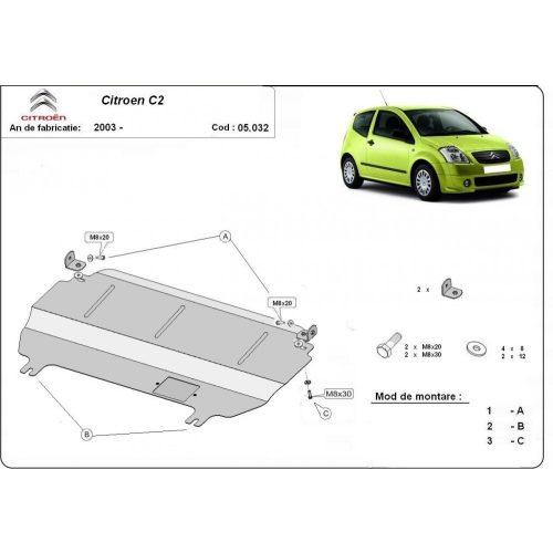 Citroen C2, 2003-2020 - Acél Motorvédő lemez