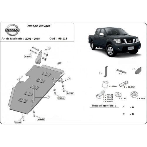 Nissan Navara, 2005-2015 - Acél Üzemanyagtank védő