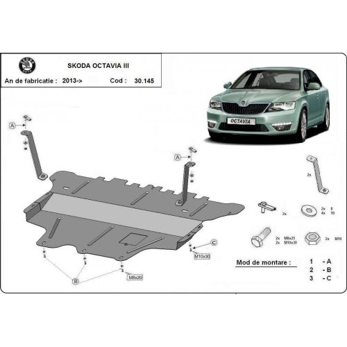 Skoda Octavia III, 2013-2020 - Motorvédő lemez