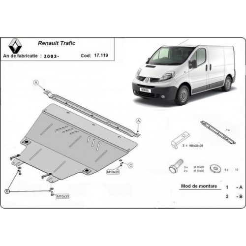 Renault Trafic, 2003-2014 - Acél Motorvédő lemez