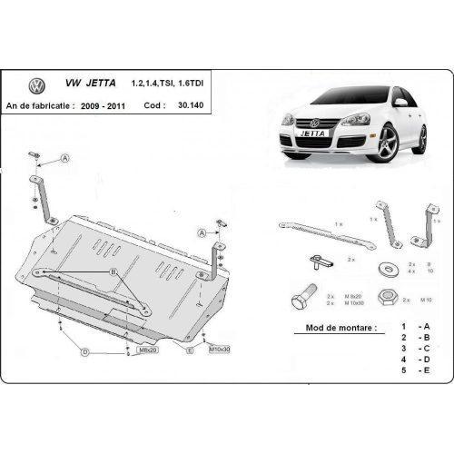 VW Jetta, 2010-2011 - - Motorvédő lemez