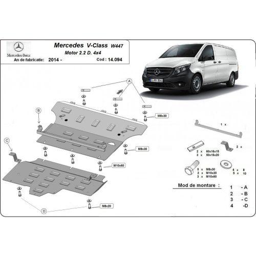 Mercedes V-Classe W447, 2014-2020 - Acél Motor, váltó, hűtő és Stop&Go védő lemez