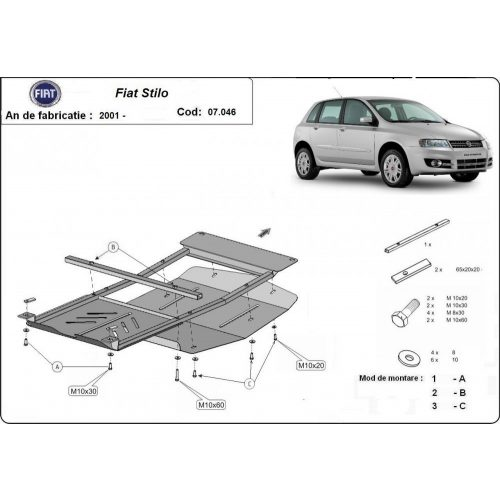 Fiat Stilo, 2001-2010 - Motorvédő lemez