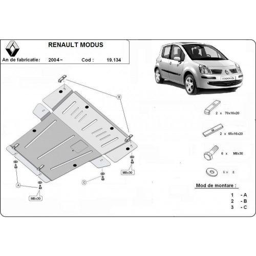 Renault Modus, 2004-2008 - Acél Motorvédő lemez