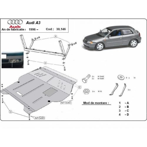 Audi A3, 1996-2003 - Acél Motorvédő lemez