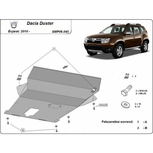 Dacia Duster, 2010-2017 - Acél Motor-, váltó- Acél és lökhárítóvédő lemez