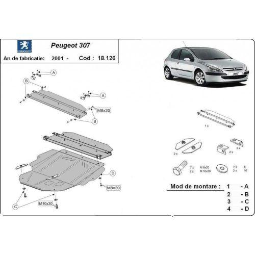 Peugeot 307, 2001-2020 - Acél Motorvédő lemez