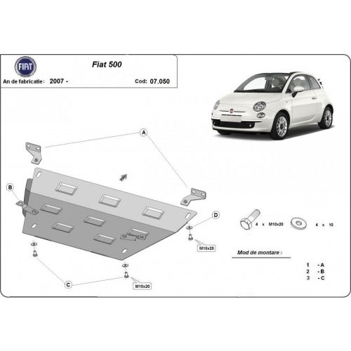 Fiat 500, 2007-2020 - Motorvédő lemez