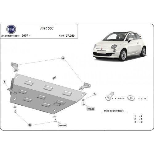 Fiat 500, 2007-2020 - Acél Motorvédő lemez