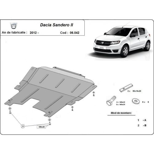 Dacia Sandero, 2012-2020 - Motorvédő lemez