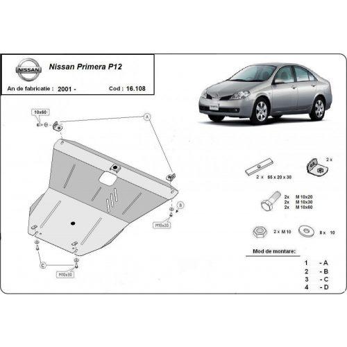 Nissan Primera P12, 2001-2020 - Acél Motorvédő lemez