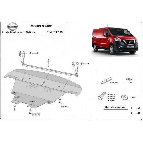 Nissan NV300, 2016-2020 - Motorvédő lemez
