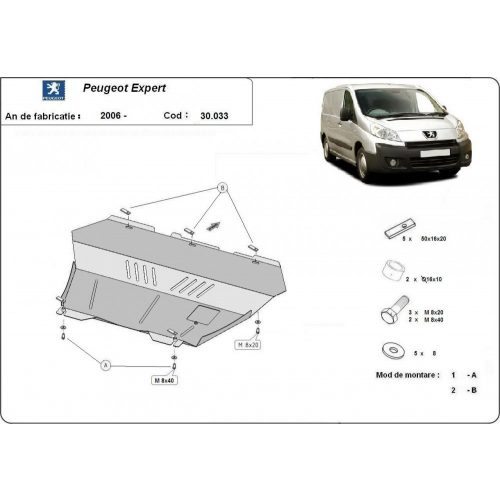Peugeot Expert, 2006-2016 - Motorvédő lemez