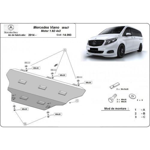 Mercedes Viano W447, 2014-2020 - Acél RWD, Motor, váltó és hűtővédő lemez