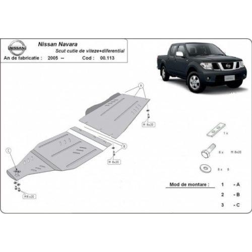 Nissan Navara, 2005-2020 - Acél Váltó + Differenciálmű védő