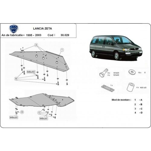 Lancia Zeta, 1995-2003 - Motorvédő lemez