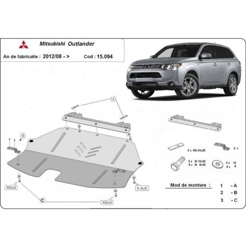 Mitsubishi Outlander 2012-2020 - Motorvédő lemez